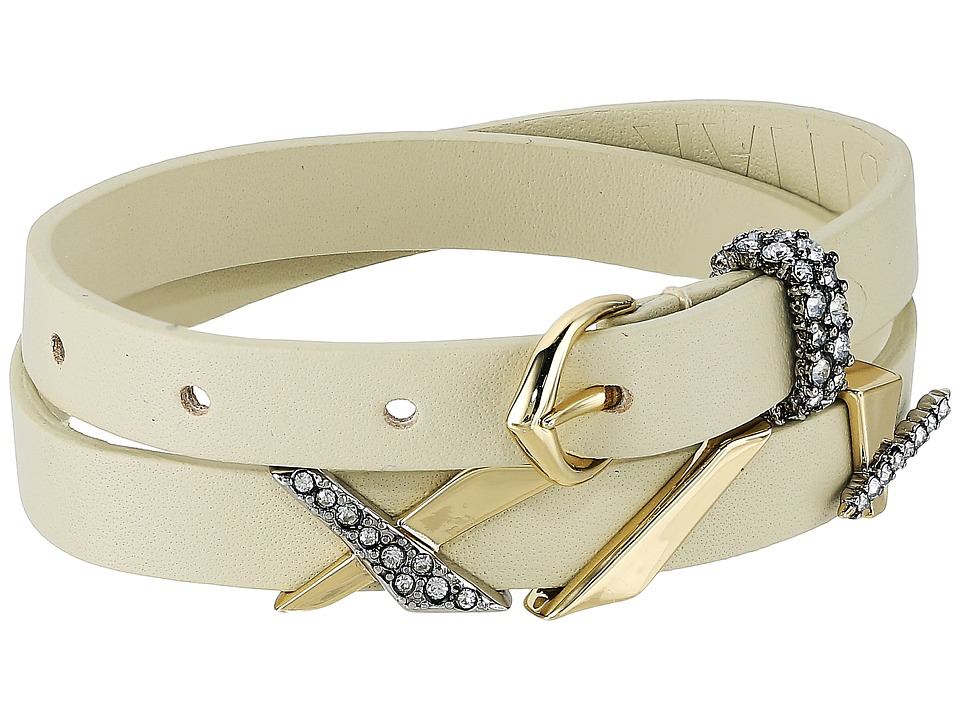 Alexis Bittar - Leather Choker/Wrap Bracelet with Crosshatch Pave Charms (10K Gold/Antique Rhodium Accents) Bracelet