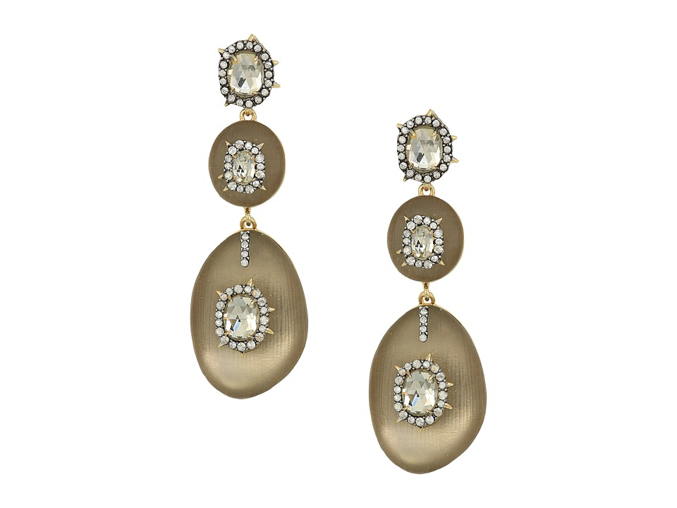 Alexis Bittar - Triple Lucite Drop Post Earrings w/ Crystal Bezel Detail (Warm Grey) Earring