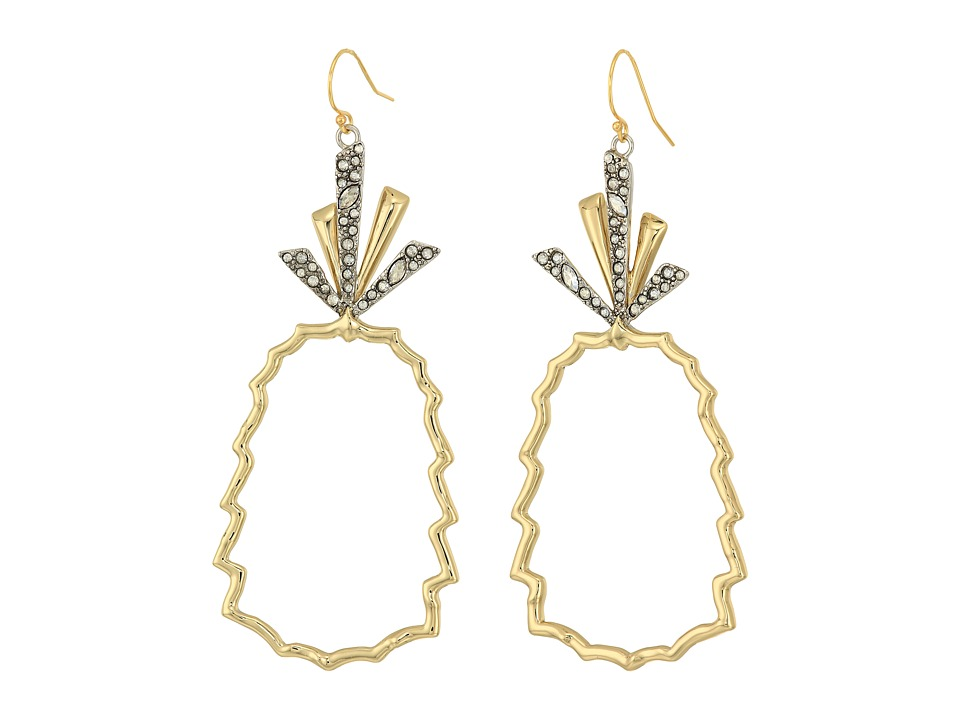 Alexis Bittar - Crystal-Leaf Pineapple Wire Earrings (10K Gold/Antique Rhodium Accents) Earring