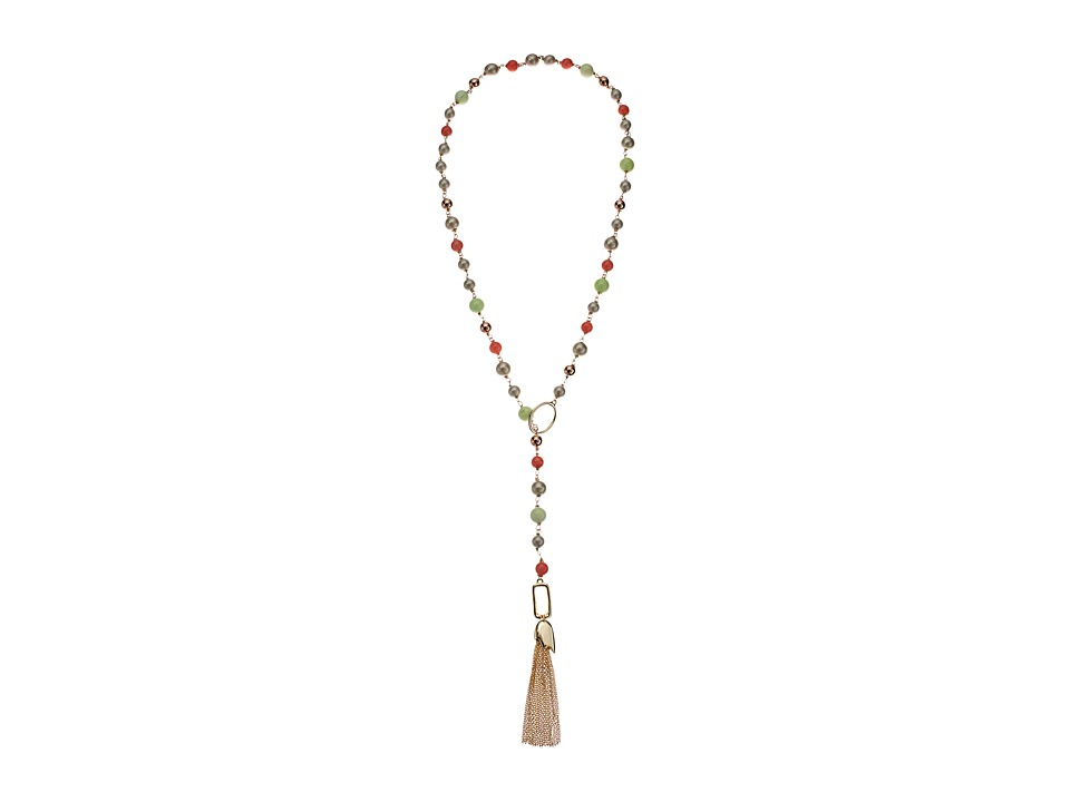 Alexis Bittar - Beaded Lariat Tassel Necklace (10K Gold/Rose Gold Accents) Necklace