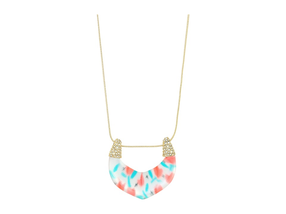 Alexis Bittar - Crystal Encrusted Tulip Print Abstract Buckle Pendant Necklace (Tulip Print) Necklace