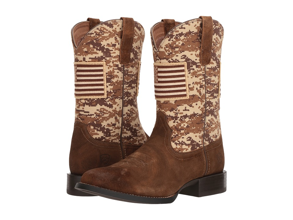 Ariat - Sport Patriot Round Toe (Antique Mocha Washed Suede/Sand Camo Print) Cowboy Boots