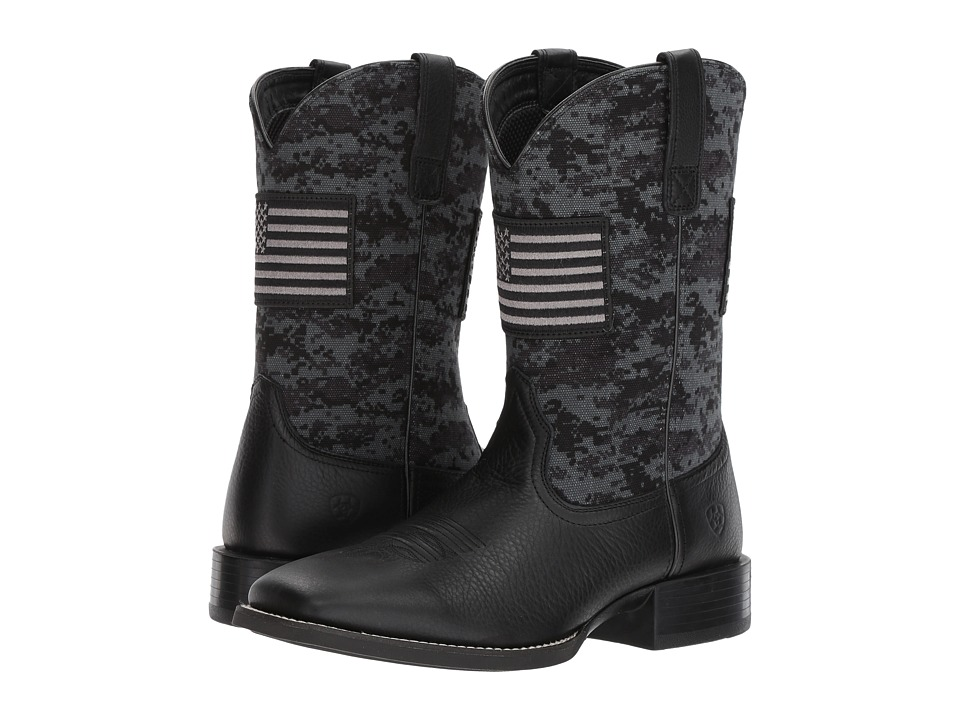 Ariat - Sport Patriot (Black Deertan/Black Camo Print) Cowboy Boots