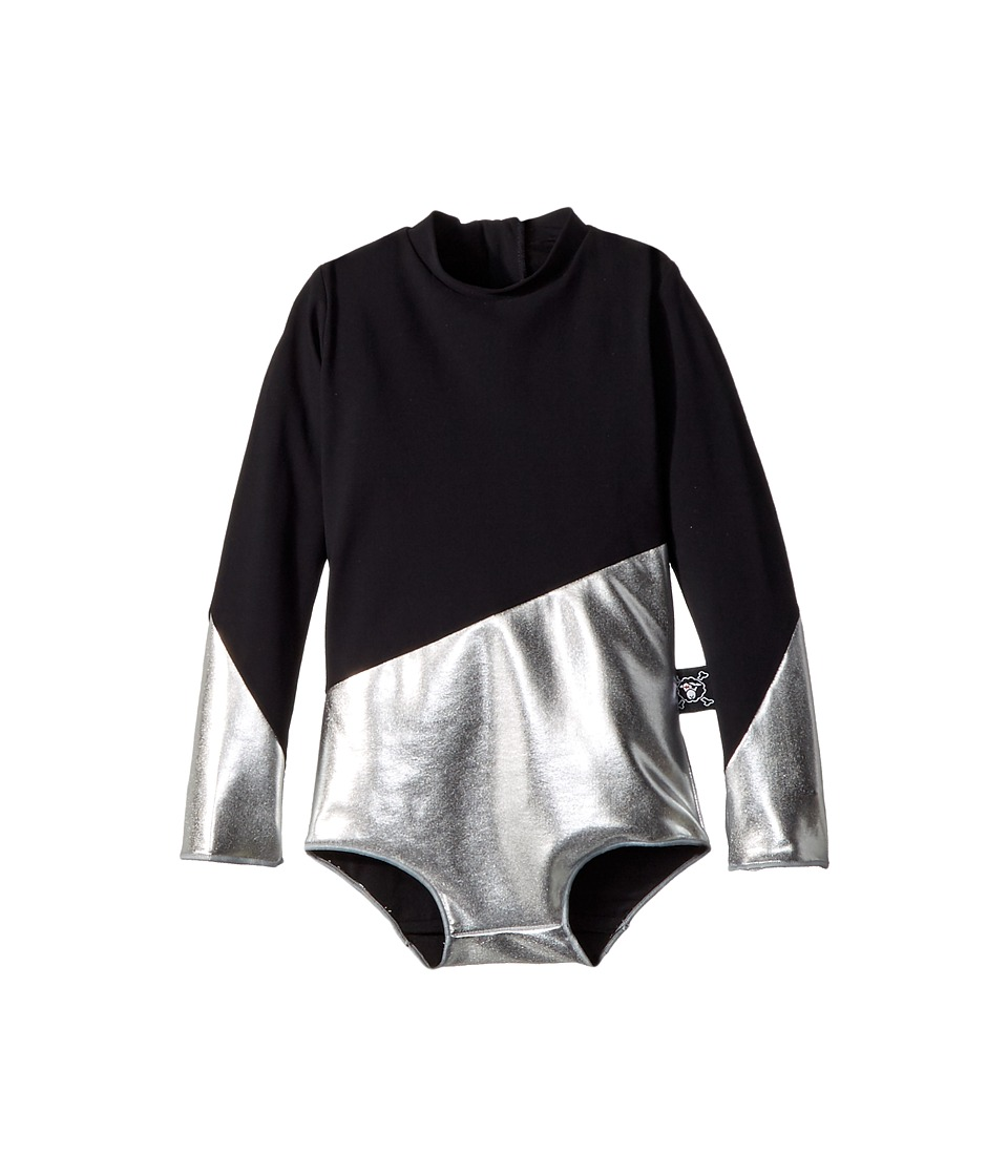 Nununu - Half and Half Long Sleeve Swimsuit (Infant/Toddler/Little Kids) (Black/Silver) Girls Swimsuits One Piece