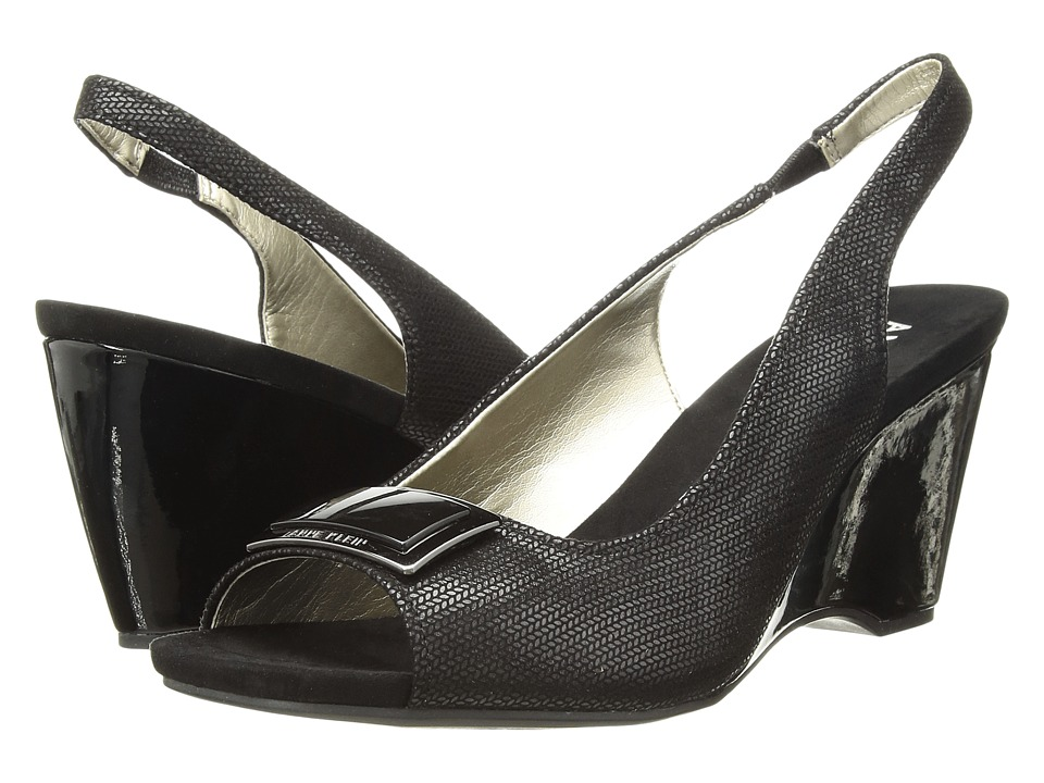 1940s Style Shoes, 40s Shoes Anne Klein - Waverlie Black Womens Wedge Shoes $79.95 AT vintagedancer.com