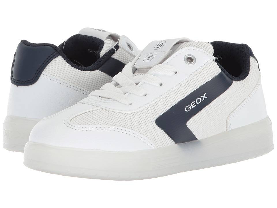 Geox Kids - Kommodor B.A. 4 (Little Kid/Big Kid) (White/Navy) Boys Shoes