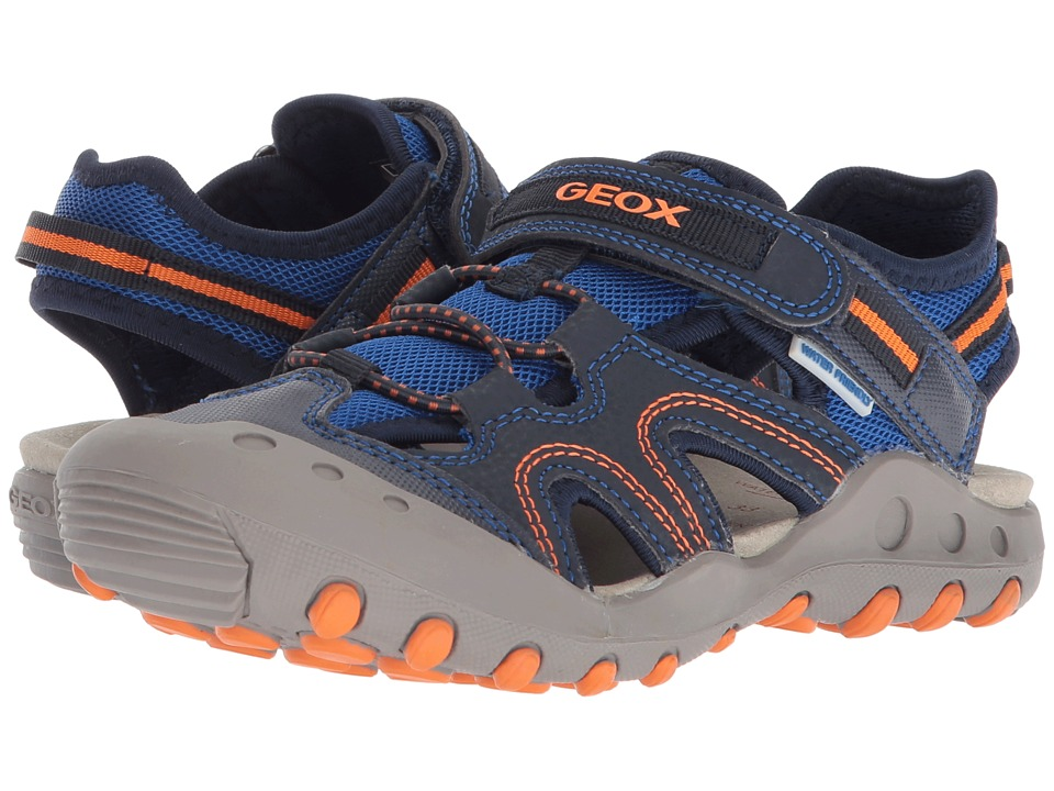 Geox Kids - Kyle 12 (Little Kid/Big Kid) (Navy/Orange) Boys Shoes