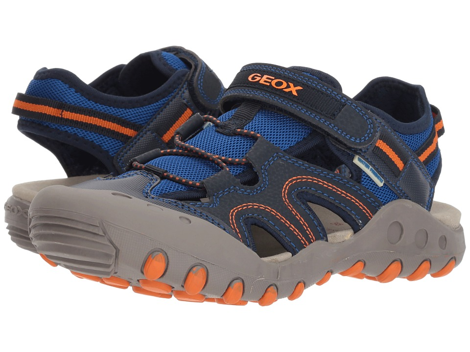 Geox Kids - Kyle 12 (Big Kid) (Navy/Orange) Boys Shoes