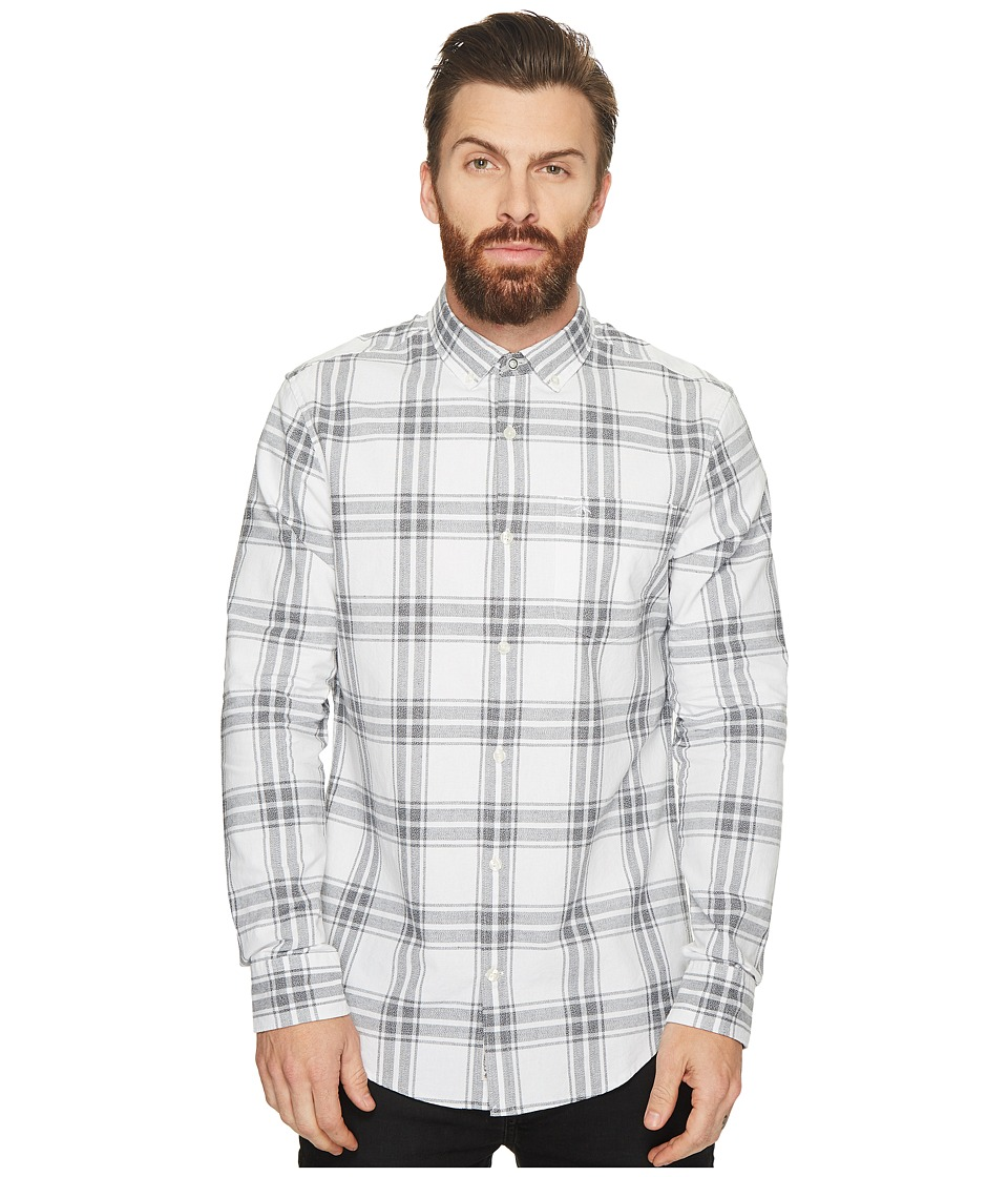 Original Penguin - Long Sleeve Jaspe Plaid Oxford Shirt (Bright White) Men's Long Sleeve Button Up