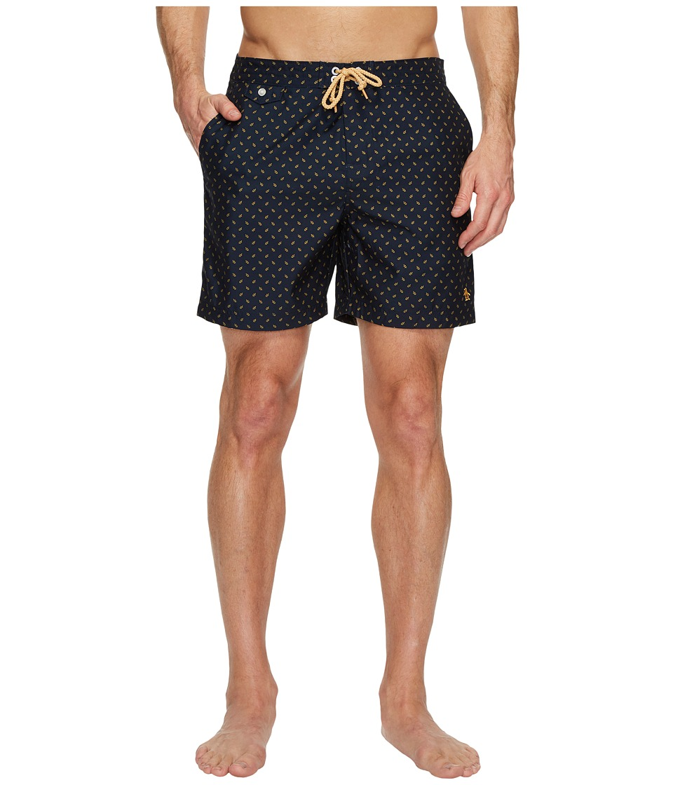 Original Penguin Leaf Print Fixed Volley Swim Shorts (Dark Sapphire) Men