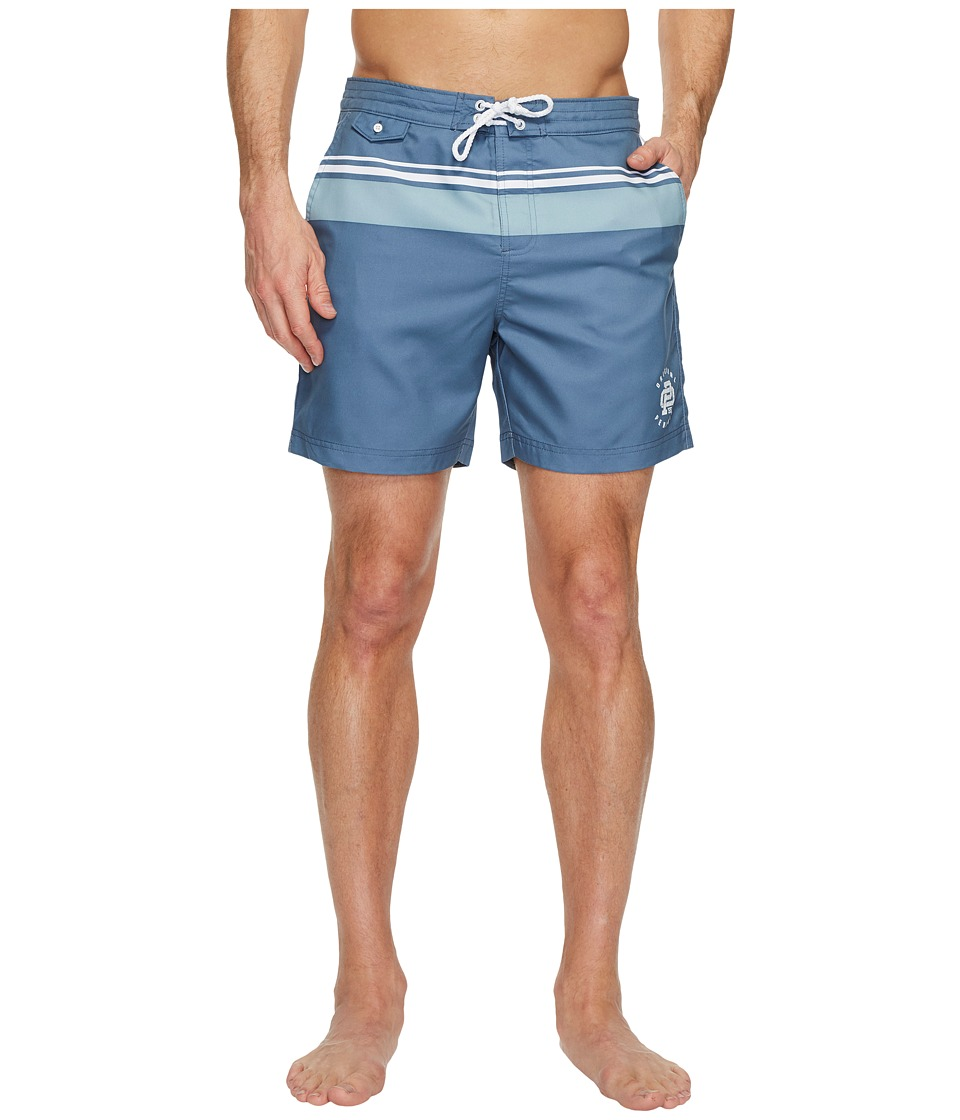Original Penguin Vintage Gym Printed Striped Fixed Volley Swim Shorts (China Blue) Men