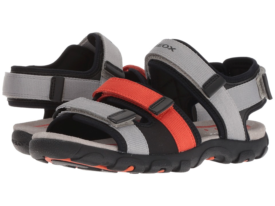 Geox Kids - Strada 15 (Big Kid) (Grey/Orange) Boys Shoes