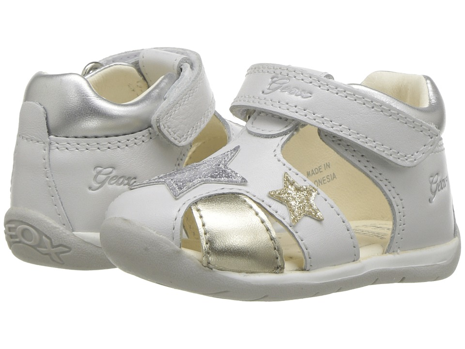 Geox Kids - Each 10 (Infant/Toddler) (White/Silver) Girls Shoes