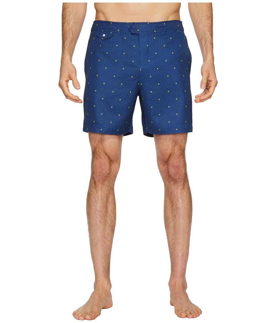 Original Penguin - Polka Dot Lemon Fixed Volley Stretch Swim Shorts (Blue Depths) Mens Swimwear