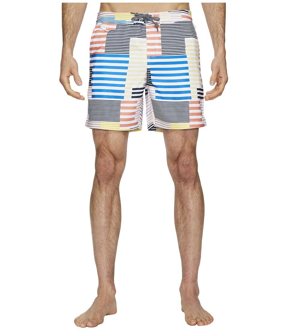Original Penguin 8-Bit Stripe Fixed Volley Stretch Swim Shorts (Blue Depths) Men