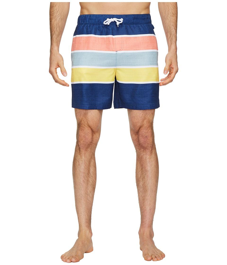 Original Penguin Color Block Stripe Elastic Volley Stretch Swim Shorts (Blue Depths) Men