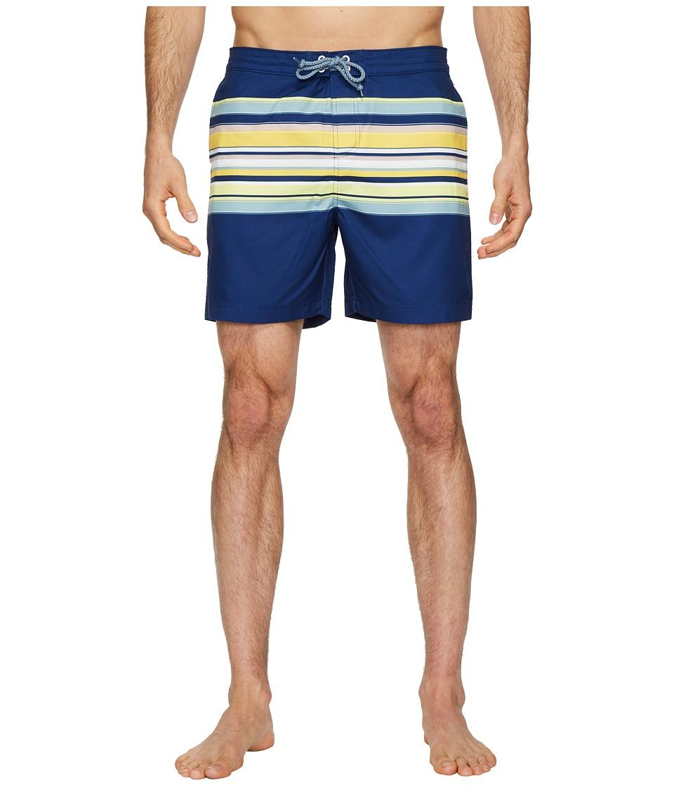 Original Penguin Engineered Stripe Fixed Volley Stretch Swim Shorts (Blue Depths) Men