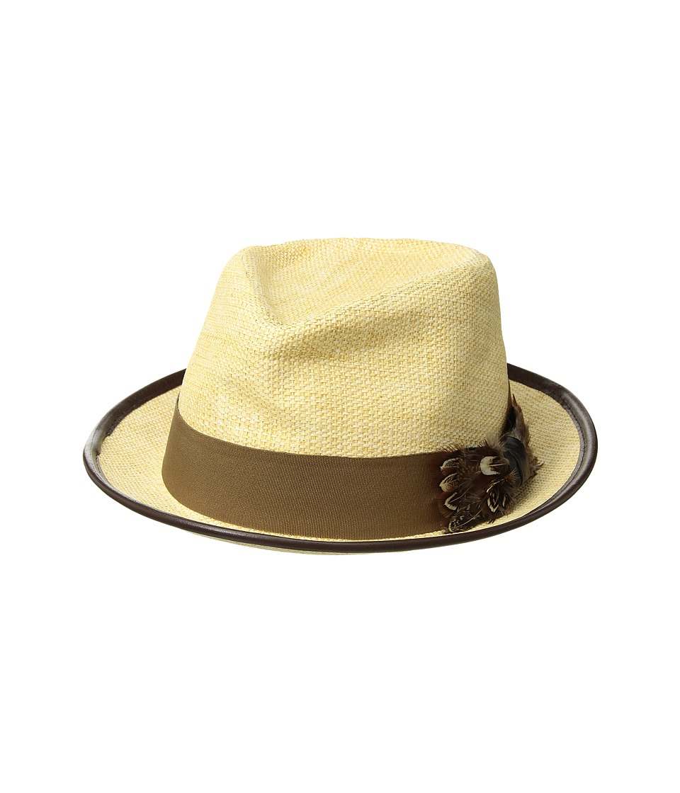 CARLOS by Carlos Santana - Matte Toyo Fedora with Feather Bow (Natural) Fedora Hats