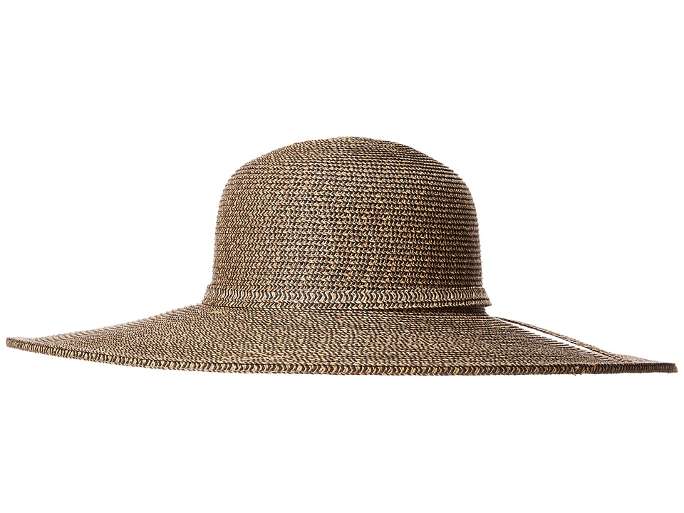 SCALA - Big Brim Paperbraid Sun Hat (Coffee/Black) Caps