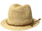 SCALA Crochet Raffia Fedora with Braided Raffia Trim