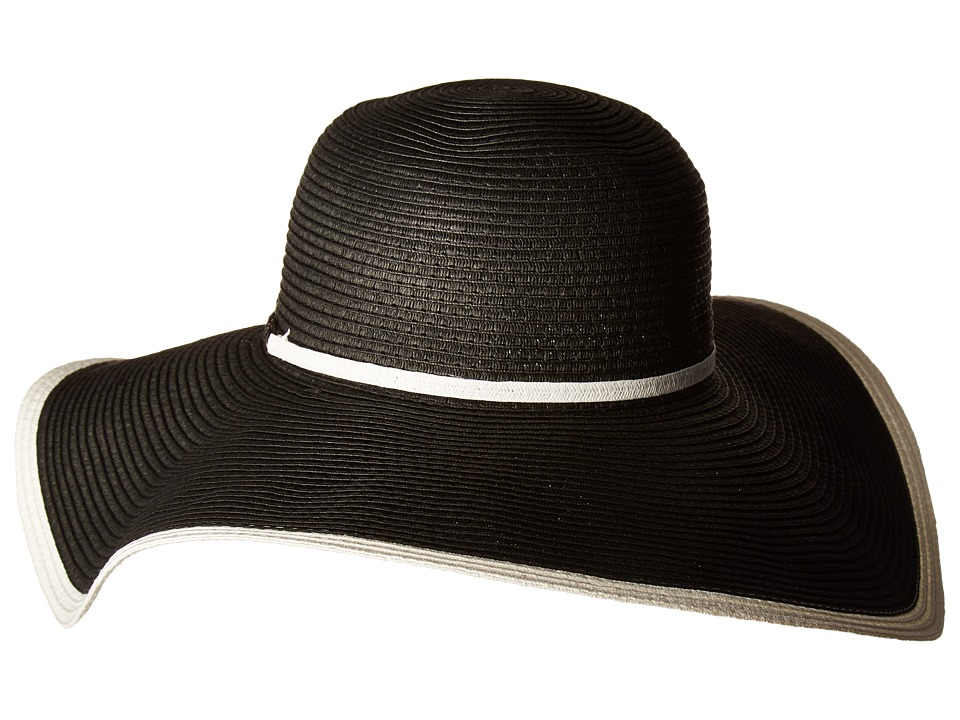 Women's Vintage Hats | Old Fashioned Hats | Retro Hats SCALA - Black and White Braid Black Caps $25.00 AT vintagedancer.com