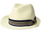 SCALA Bu Toyo Fedora with Striped Ribbon Trim