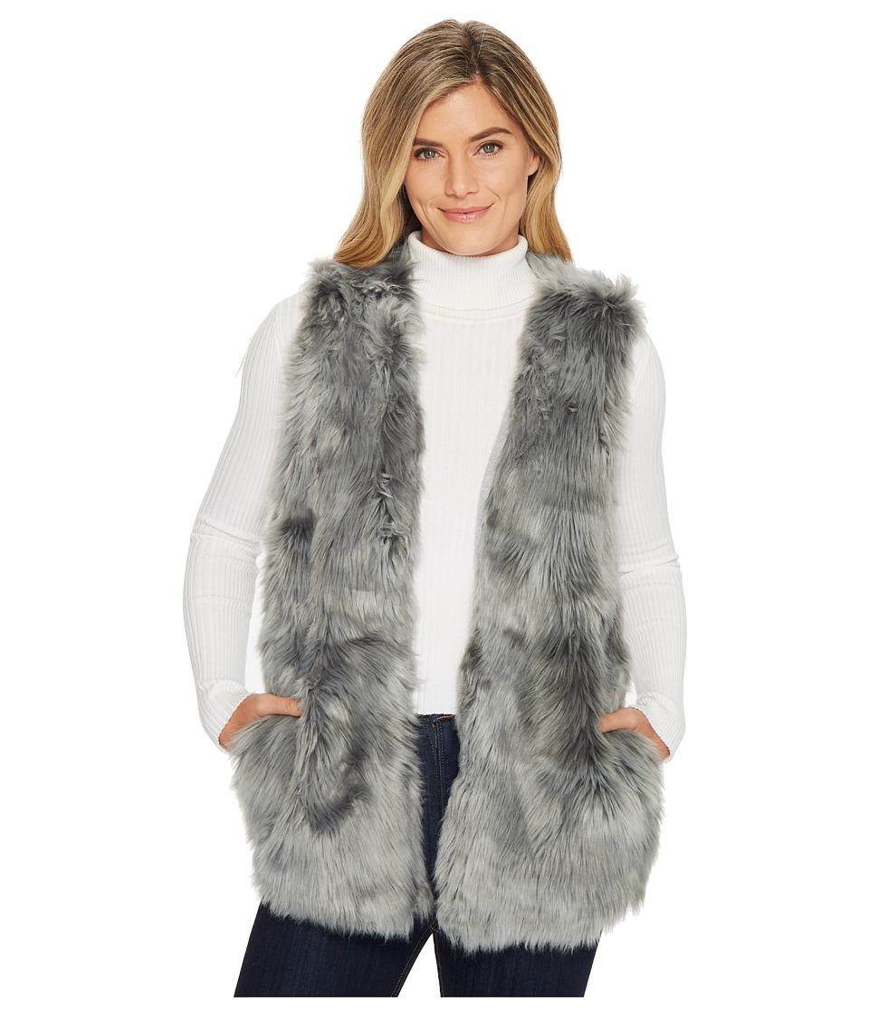 Dylan by True Grit - Denim Melange Long Fur Vest with Hea...