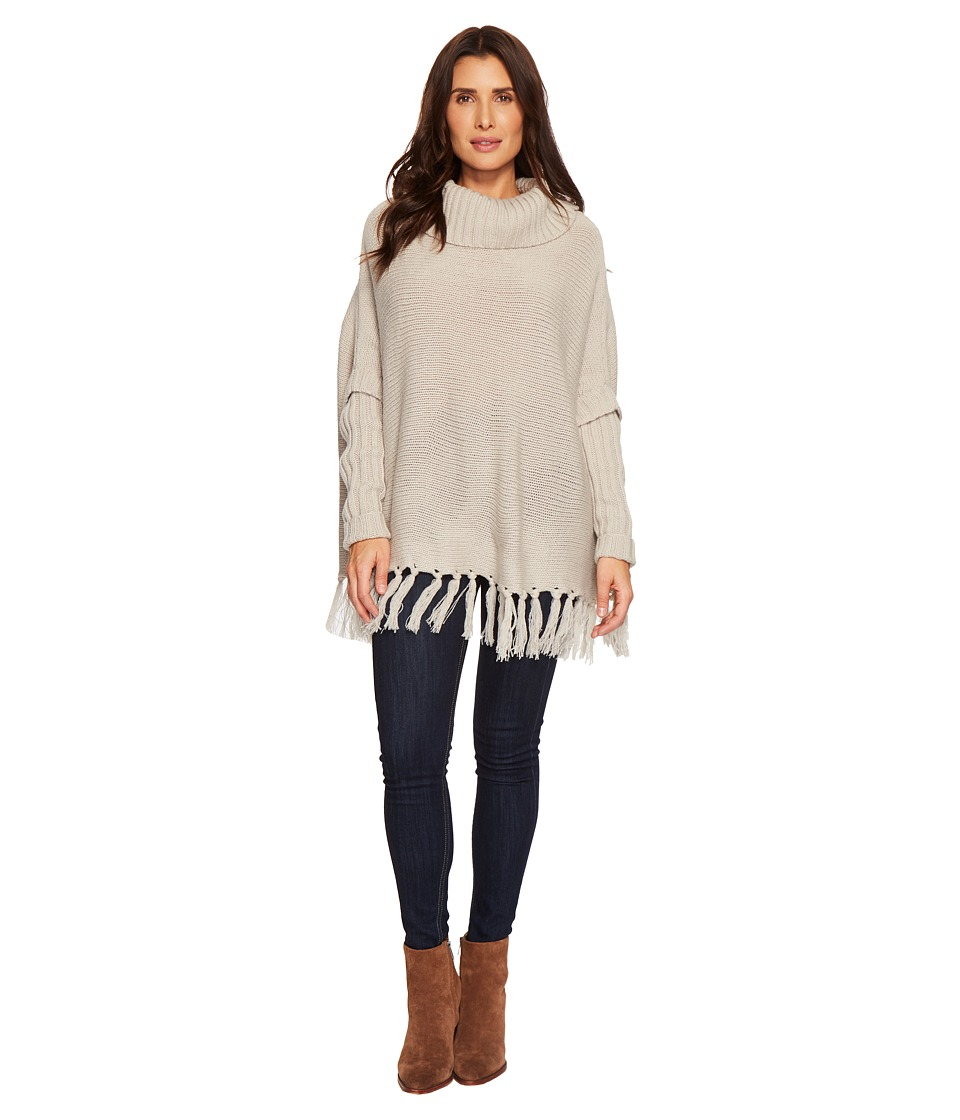 Dylan by True Grit - Cozy Knit Sweater with Rib and Fringe Details (Soft Grey) Womens Sweater