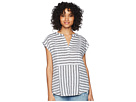 TWO by Vince Camuto Cap Sleeve Resort Stripe Linen Blouse