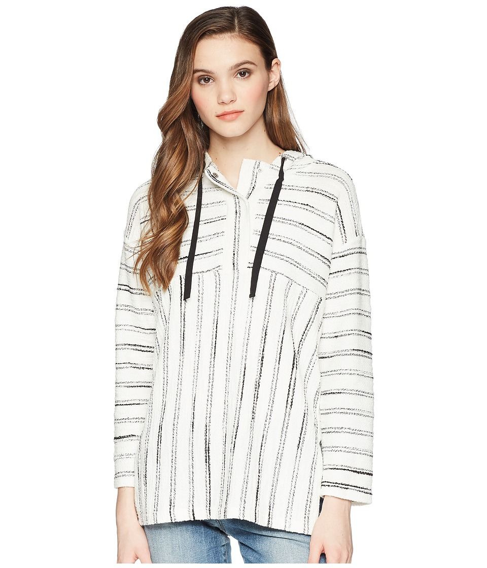 TWO by Vince Camuto Long Sleeve Nubby Stripe Hoodie (Rich Black) Women