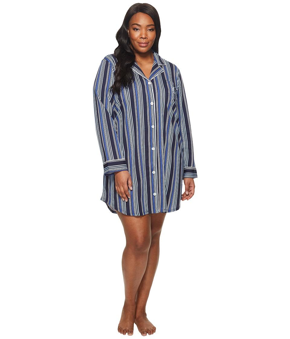 LAUREN Ralph Lauren - Plus Size Long Sleeve Notch Collar Sleepshirt (Tonal Blue Stripe) Womens Pajama
