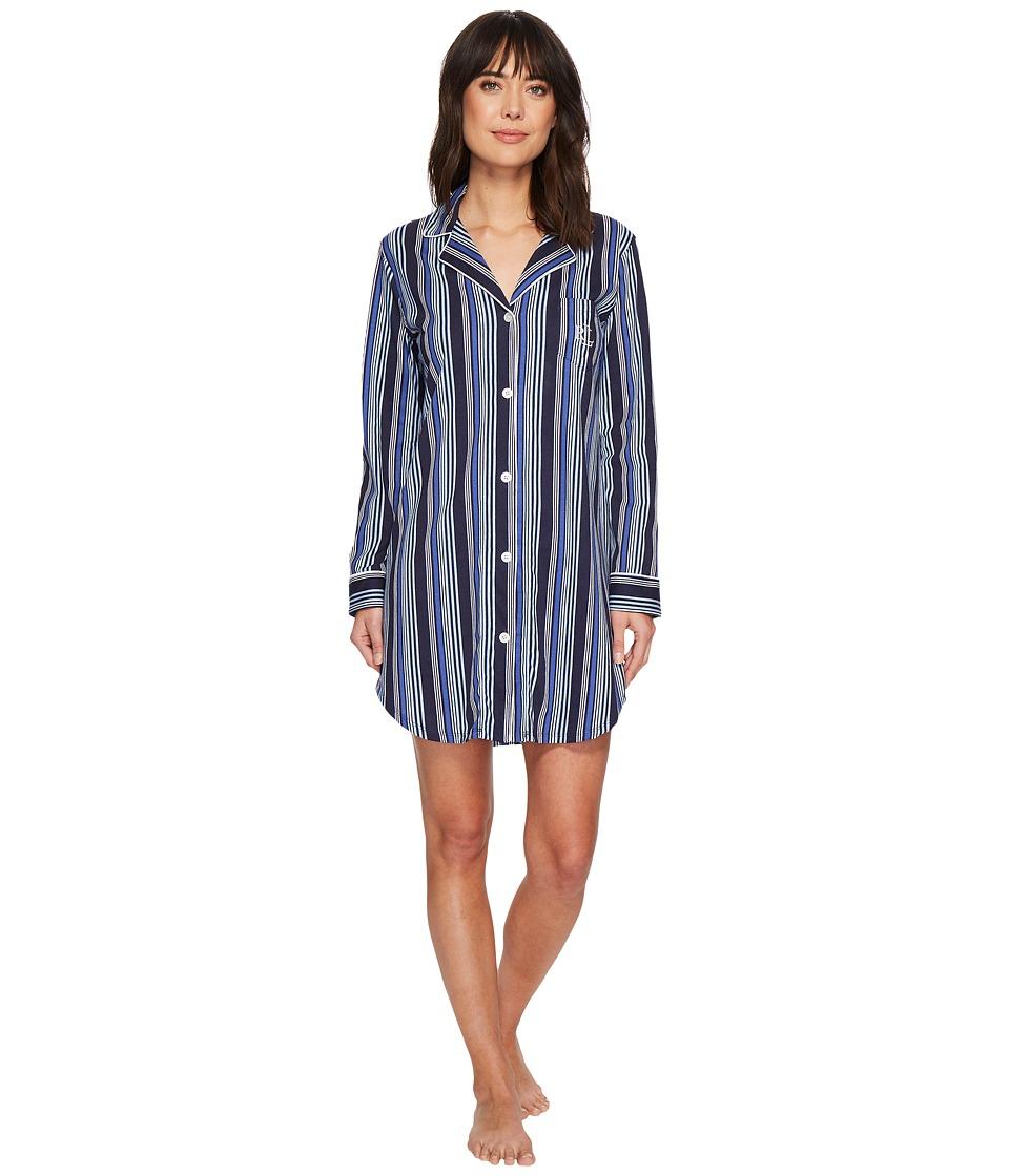 LAUREN Ralph Lauren - Long Sleeve Notch Collar Sleepshirt (Tonal Blue Stripe) Womens Pajama