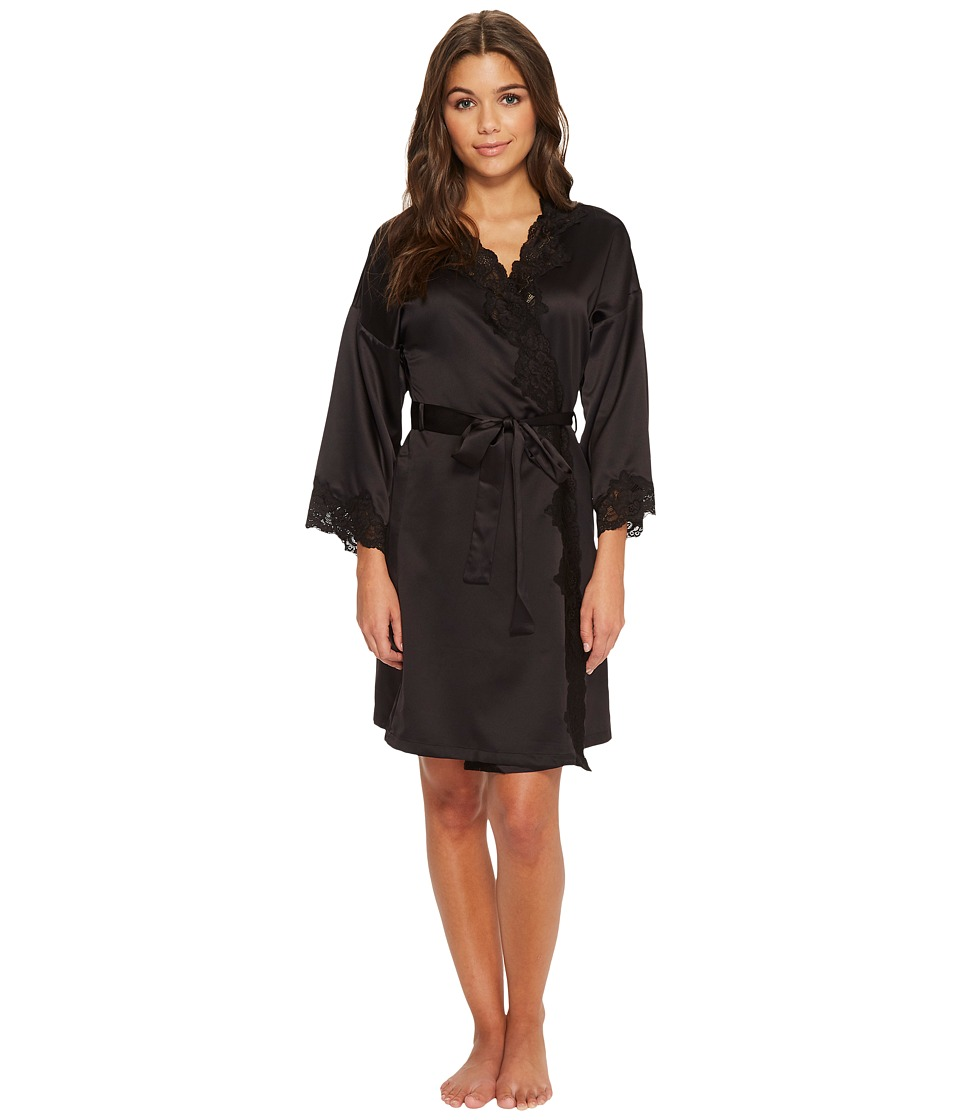 LAUREN Ralph Lauren - Satin Wrap Robe (Black) Womens Robe