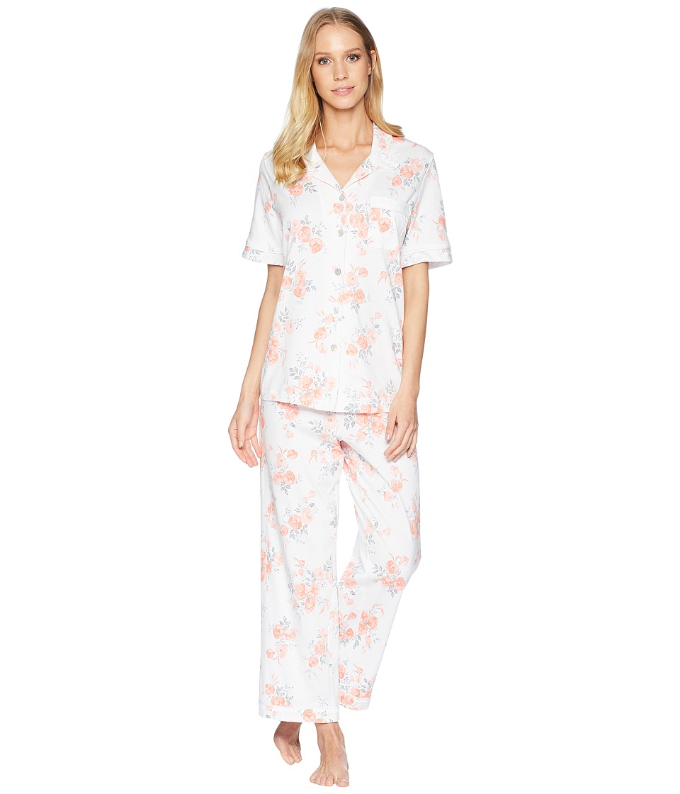 Carole Hochman - Jersey Short Sleeve Floral Capris Pajama (Watercolor Buds) Womens Pajama Sets