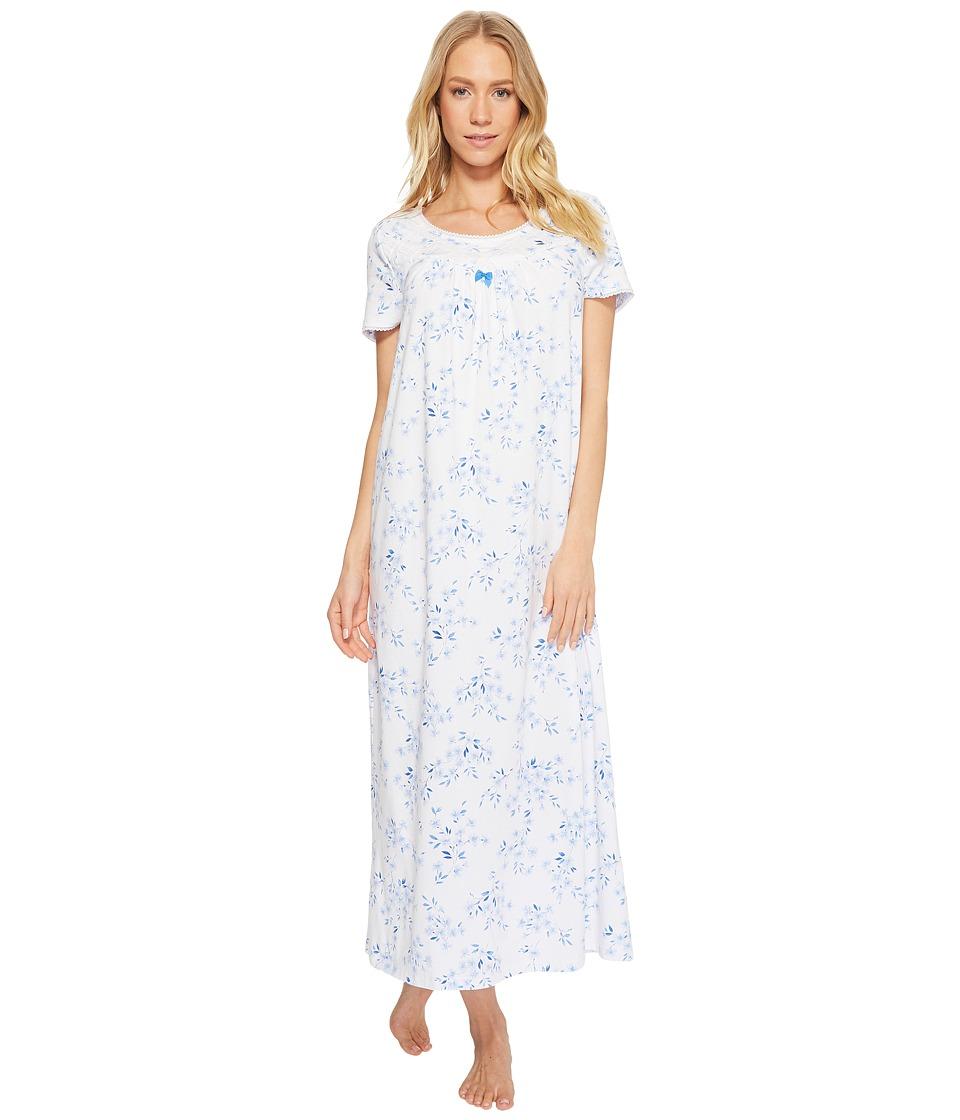Carole Hochman - Cozy Jersey Short Sleeve Long Gown (Floral Twin) Womens Pajama