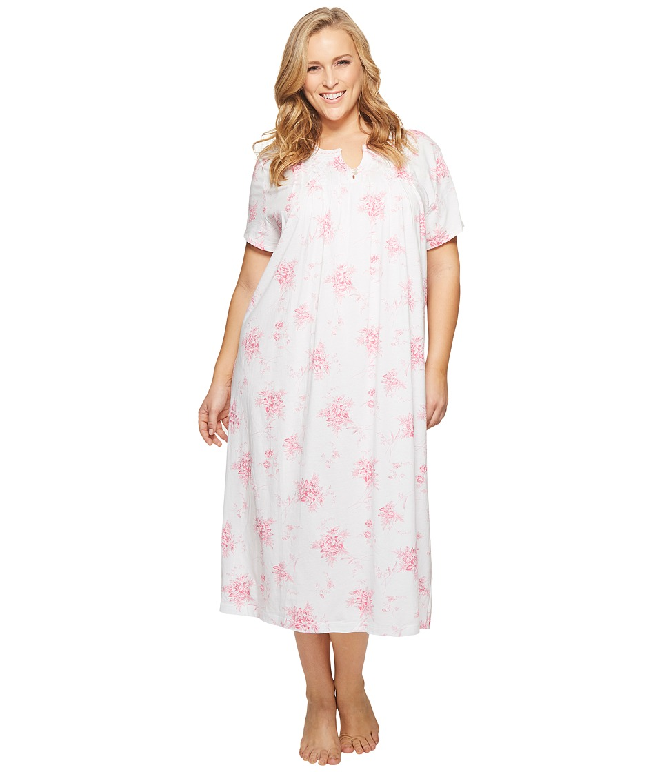 Carole Hochman - Plus Size Short Sleeve Long Gown (Bouquet Swing) Womens Pajama