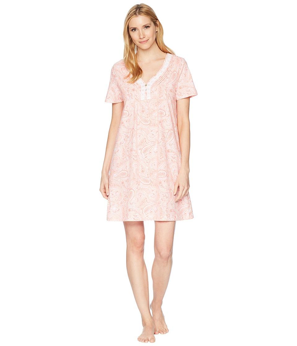 Carole Hochman - Soft Jersey Short Sleeve Sleepshirt (Water Paisley) Womens Pajama
