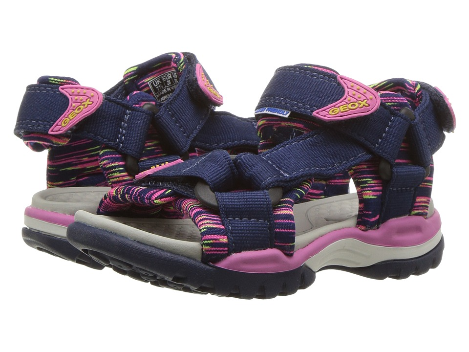 Geox Kids - Borealis 7 (Toddler/Little Kid) (Navy/Fuchsia) Girls Shoes