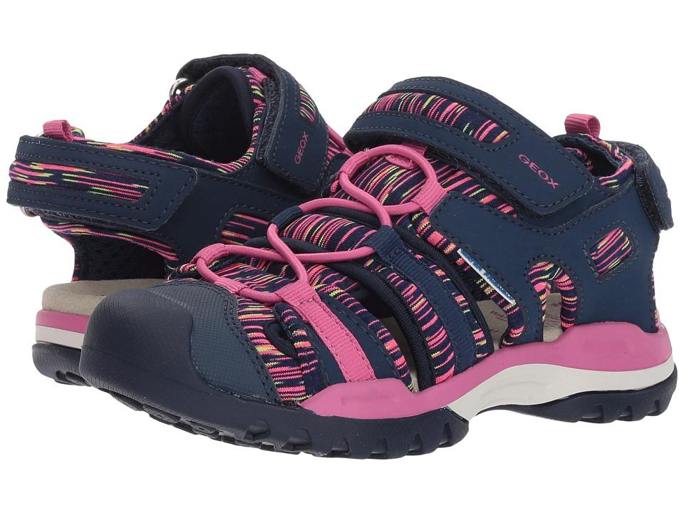 Geox Kids - Borealis 8 (Toddler/Little Kid) (Navy/Fuchsia) Girls Shoes
