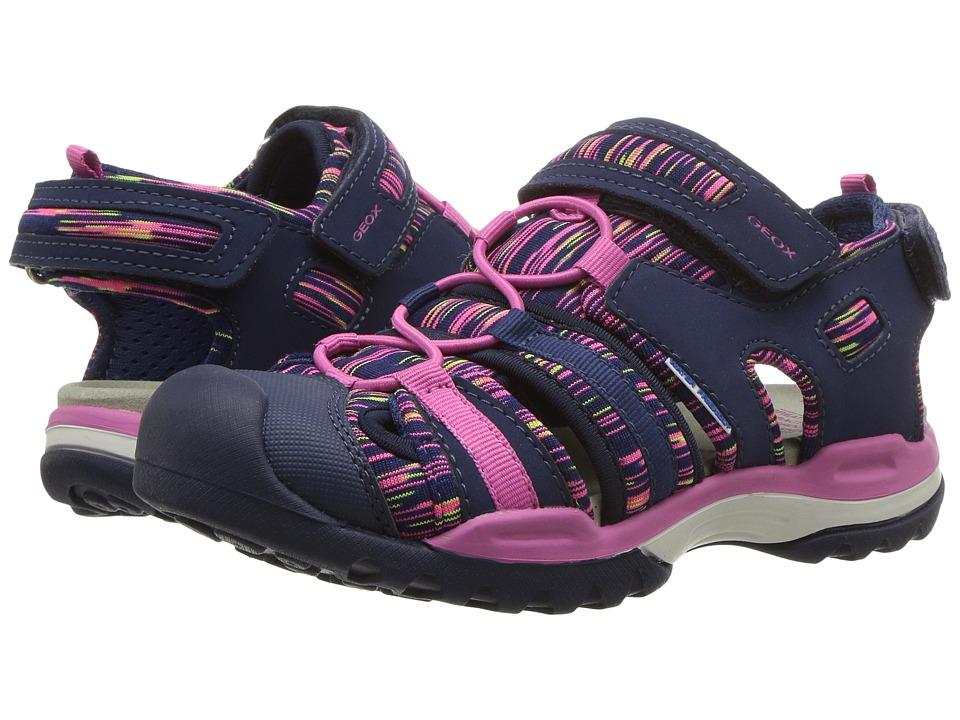 Geox Kids - Borealis 8 (Little Kid/Big Kid) (Navy/Fuchsia) Girls Shoes