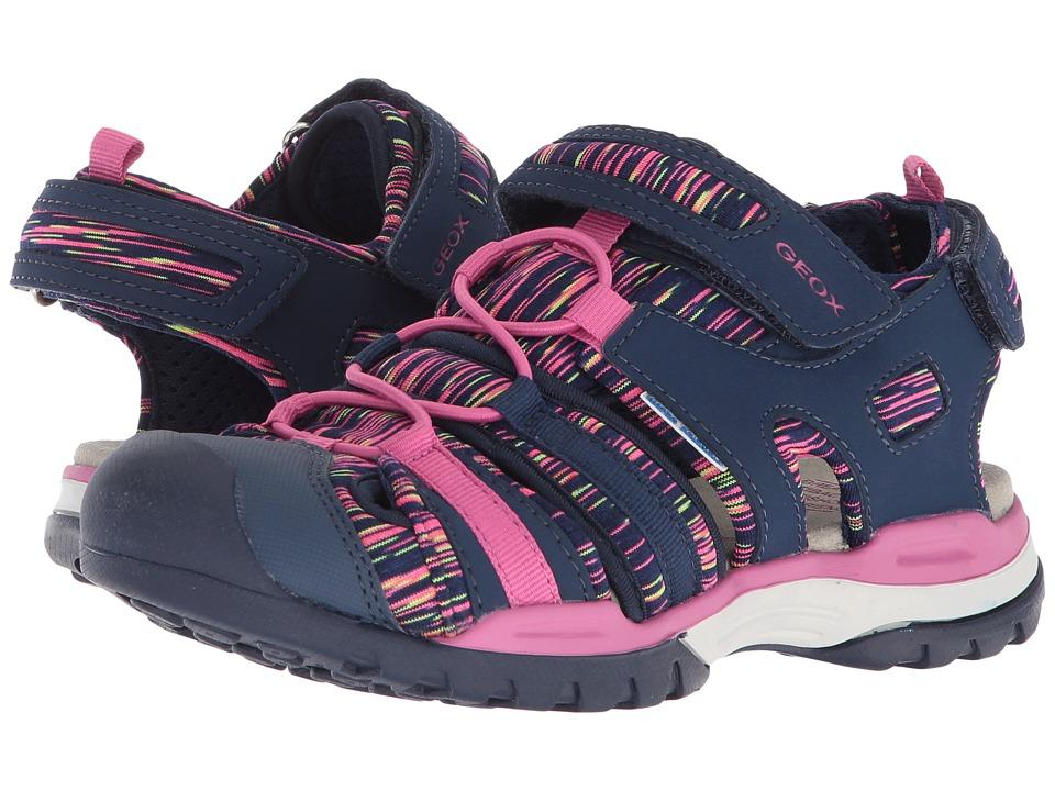 Geox Kids - Borealis 8 (Big Kid) (Navy/Fuchsia) Girls Shoes