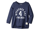 The Original Retro Brand Kids Weekends Are For Friends Tri-Blend 3/4 Pullover (Big Kids)