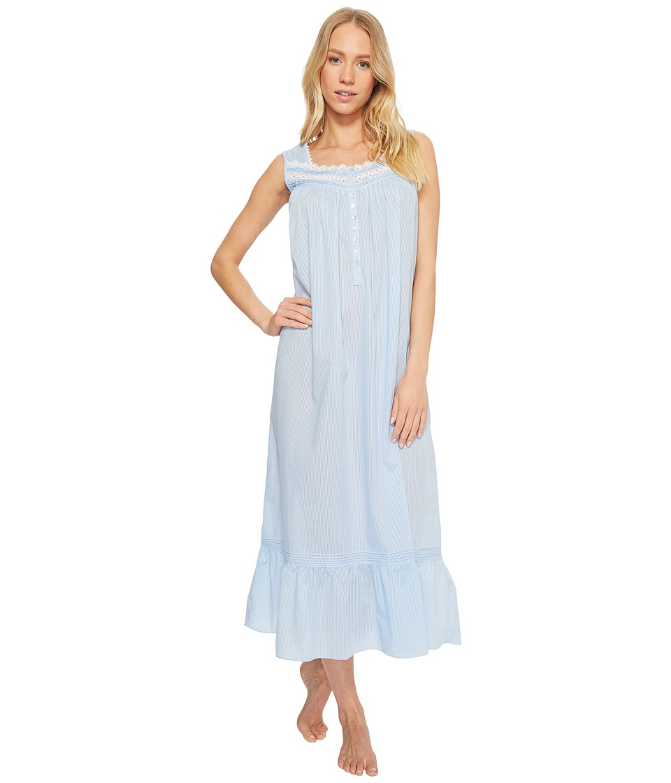 Eileen West - Cotton Rich Sheer Stripe Ballet Nightgown (Solid Light Delphinium Sheer Stripe) Womens Pajama