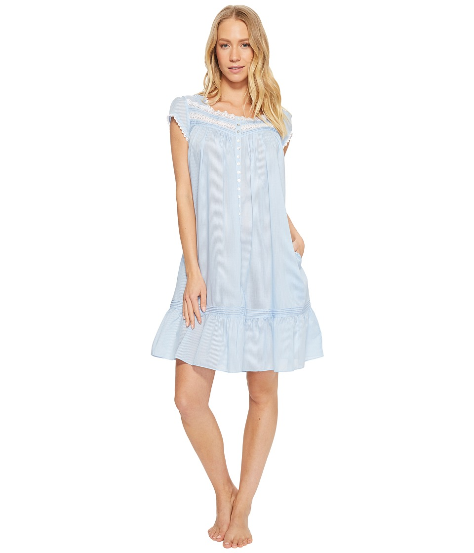 Eileen West - Cotton Rich Sheer Stripe Button Front Short Gown (Solid Light Delphinium Sheer Stripe) Womens Pajama