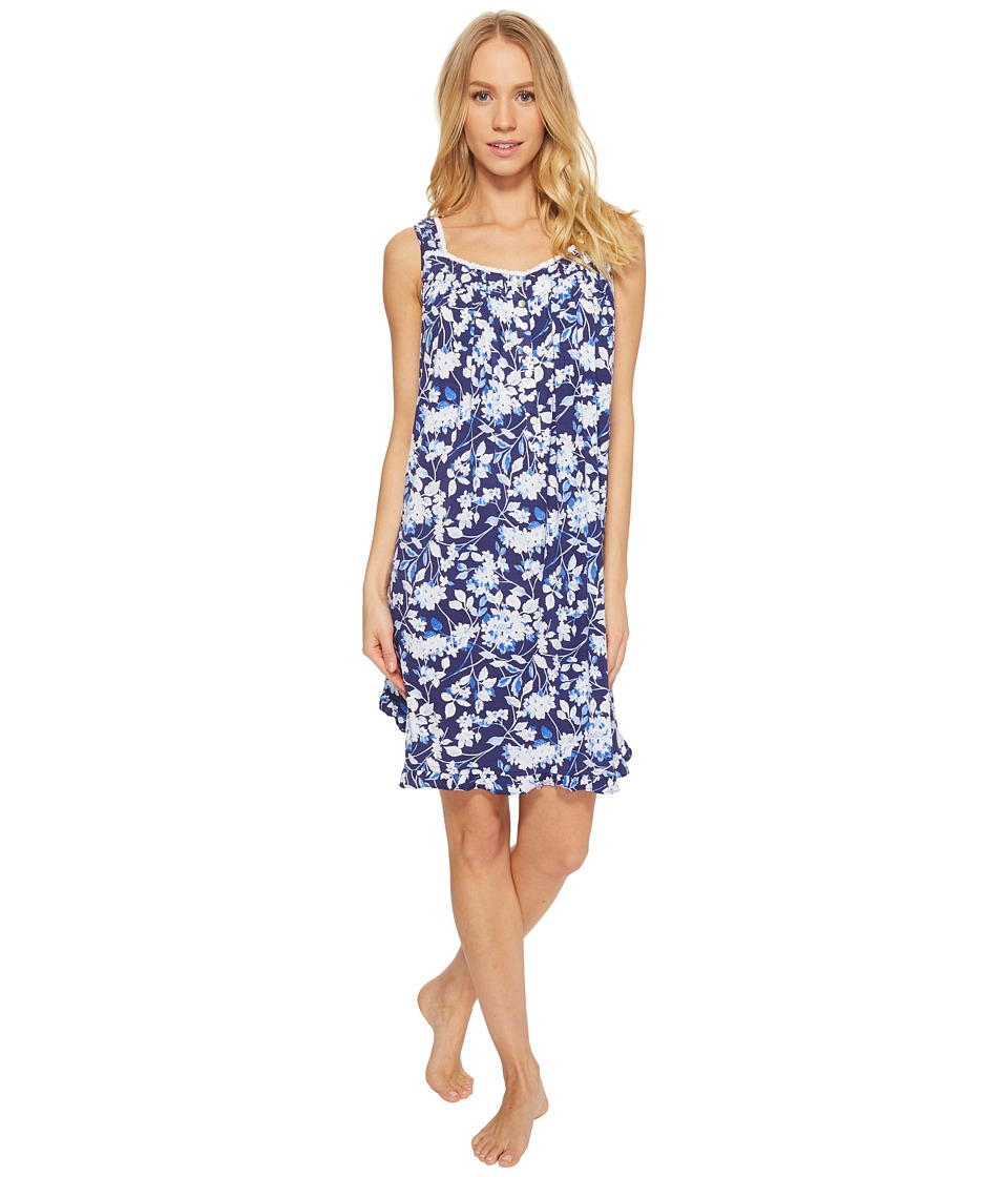 Eileen West - Modal Floral Short Chemise (Blue Ground/Multi Floral) Womens Pajama