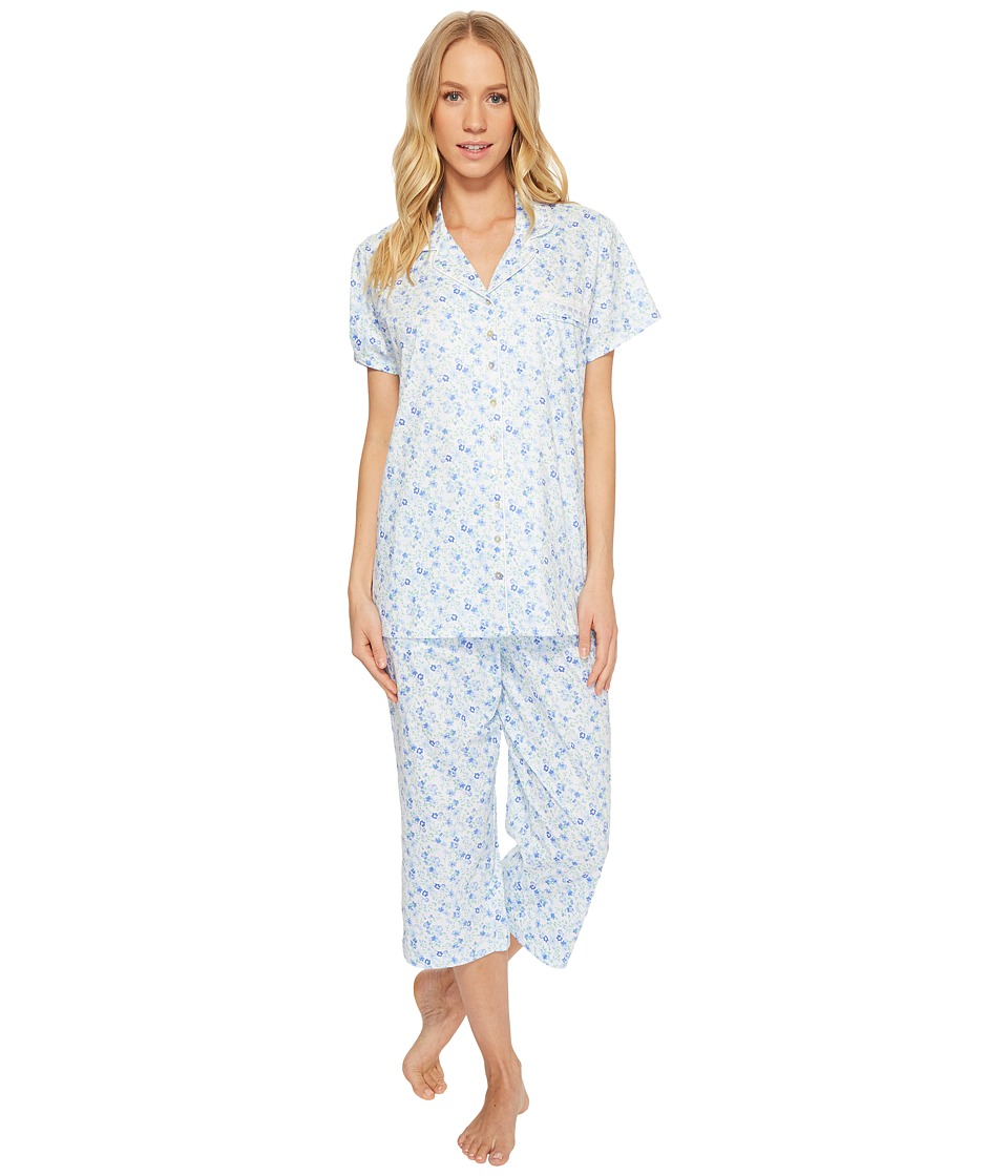 Eileen West - Notch Collar Capris PJ Set (White Ground/Packed Floral) Womens Pajama Sets