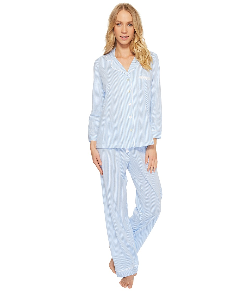 Carole Hochman - Soft Jersey Notch Collar Pajama (Small Stripe) Womens Pajama Sets