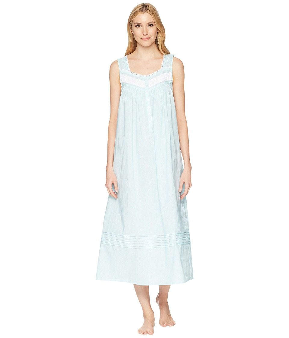 Eileen West - Cotton Lawn Paisley Ballet Nightgown (White Ground/Aqua Paisley) Womens Pajama