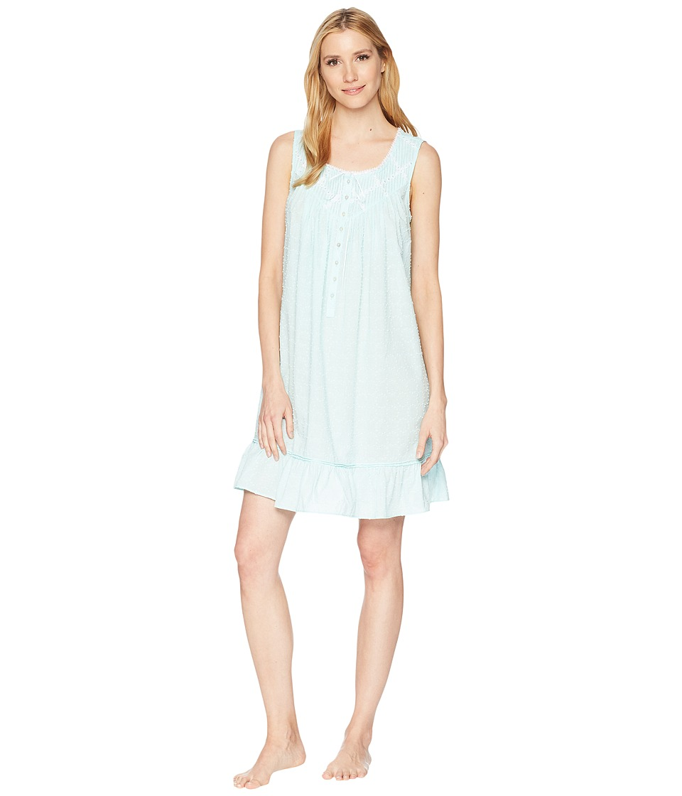 Eileen West - Cotton Circle Clip Dot Short Chemise (Solid Aqua Circle Clip Dot) Womens Pajama