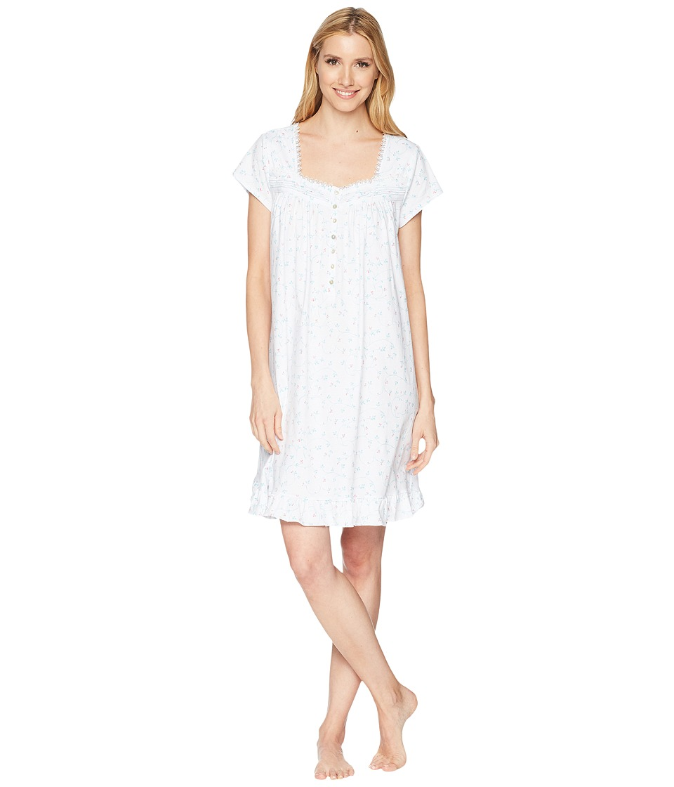 Eileen West - Jersey Short Nightgown (White Ground/Aqua Scroll/Pink Berries) Womens Pajama